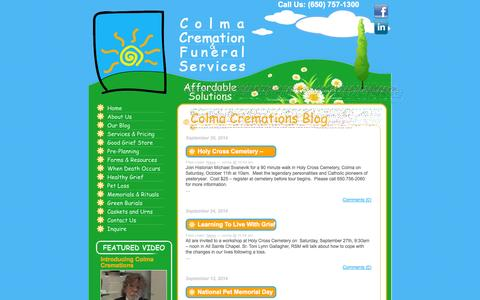 Screenshot of Blog colmacremation.com - Colma Cremation - captured Oct. 2, 2014