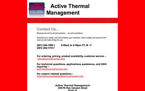 Screenshot of Contact Page activethermal.com - home theater cooling - captured Oct. 4, 2014