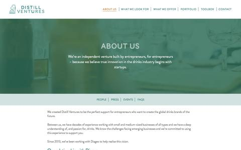 Screenshot of About Page distillventures.com - About Us - Distill Ventures - captured Aug. 2, 2016