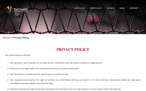 Screenshot of Privacy Page yocreativ.com - Privacy | Digital and Social Media Marketing Companies in Gurgaon - captured Sept. 12, 2019