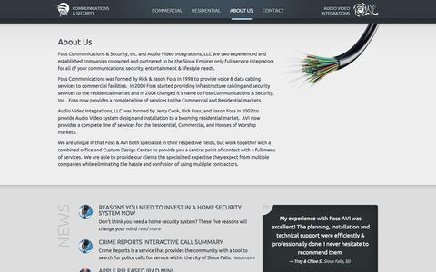 Screenshot of About Page foss-avi.com - Sioux Falls' full-service integrators for all your communication systems, security sytsems and entertainment systens - Sioux Falls, SD - Foss Communications & Security and Audio Video Integrations - captured Sept. 30, 2014
