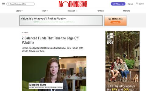 Screenshot of Blog morningstar.com - 2 Balanced Funds That Take the Edge Off Volatility | Morningstar - captured Dec. 4, 2019