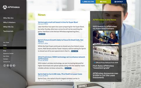 Screenshot of Press Page apwip.com - News | APWireless - captured Feb. 5, 2016