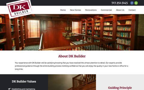 Screenshot of About Page dkbuilder.com - About Us | Custom Home Builders | Lancaster PA | DK Builder - captured Aug. 5, 2018