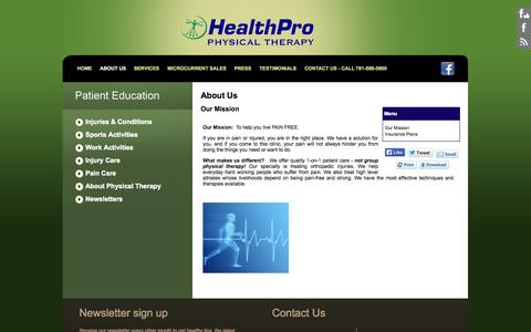 Screenshot of About Page healthpropt.net - HealthPro Physical Therapy:About Us - captured Oct. 27, 2014
