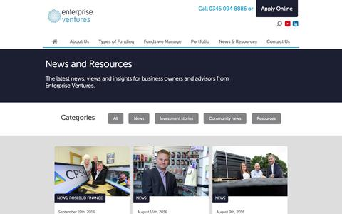 Screenshot of Press Page evgroup.uk.com - News Archives - Enterprise Ventures - captured Oct. 18, 2016