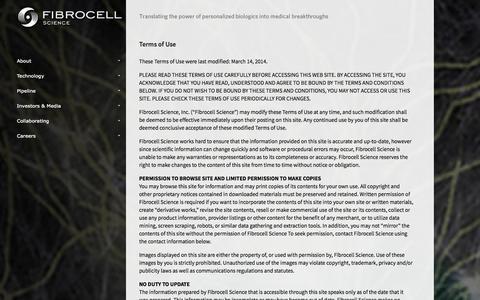 Screenshot of Terms Page fibrocellscience.com - Fibrocell Science - captured Sept. 16, 2014