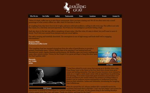 Screenshot of Testimonials Page thelaughinggoat.com - The Laughing Goat Coffeehouse - Testimonials - captured March 27, 2016