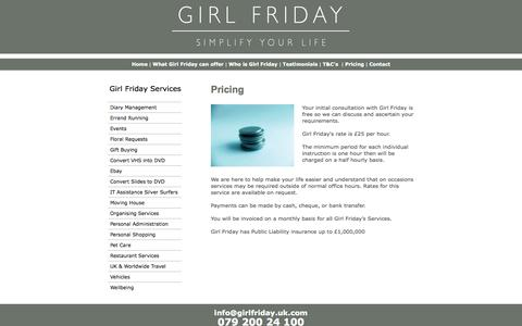 Screenshot of Pricing Page girlfriday.uk.com - Home Page - captured Sept. 30, 2014