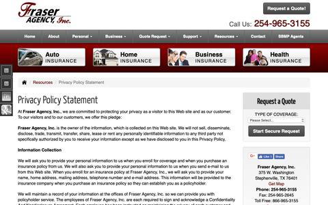 Screenshot of Privacy Page fraseragency.com - Fraser Agency, Inc. - Privacy Policy Statement - captured Nov. 9, 2018