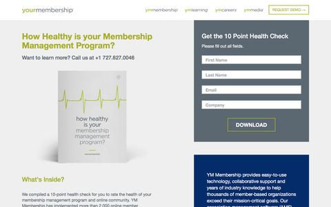 Screenshot of Landing Page yourmembership.com - How Healthy Is Your Membership Management Program? - captured Sept. 25, 2016