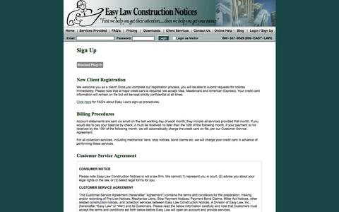 Screenshot of Signup Page easylawinc.com - Construction Notices | California Mechanics Lien | Preliminary Notice | Easy Law - captured Oct. 20, 2016