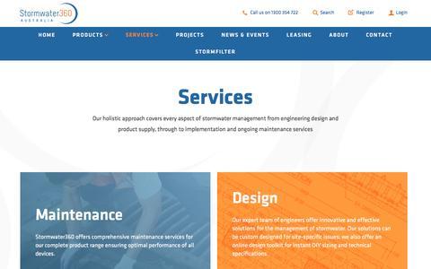 Screenshot of Services Page stormwater360.com.au - Services | Stormwater360 Australia - captured Dec. 2, 2016