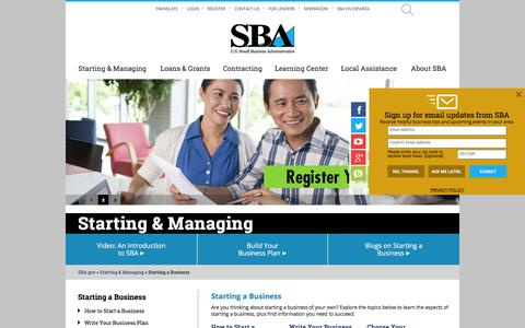 Starting a Business | The U.S. Small Business Administration | SBA.gov