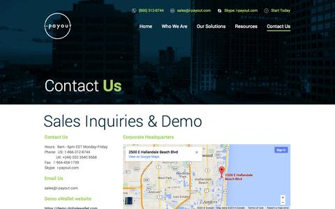 Screenshot of Contact Page i-payout.com - I-Payout - captured Nov. 4, 2014