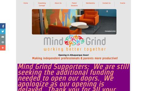 Screenshot of Home Page mind-grind.com - Home | Mind Grind | Albuquerque Coworking - captured Oct. 6, 2014