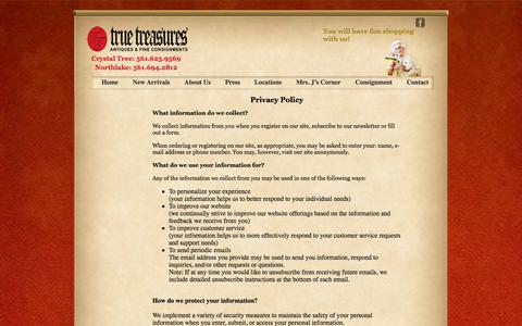 Screenshot of Privacy Page truetreasuresinc.com - Contact us at one of our Consignment and Antique Stores in Palm Beach - captured Oct. 9, 2014