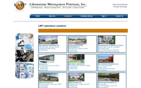 Screenshot of Locations Page lmpcorp.com - Laboratory Management Partners, Inc. Company Locations - captured Oct. 1, 2014