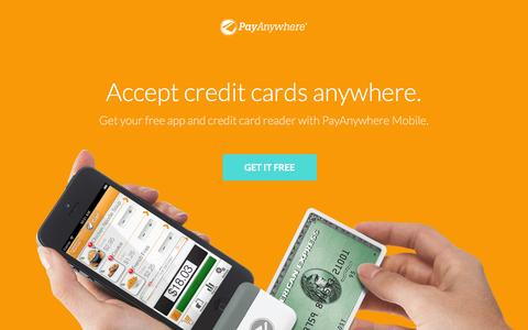 Screenshot of Landing Page payanywhere.com - Free credit card reader | mobile credit card processing - PayAnywhere - captured Oct. 27, 2014