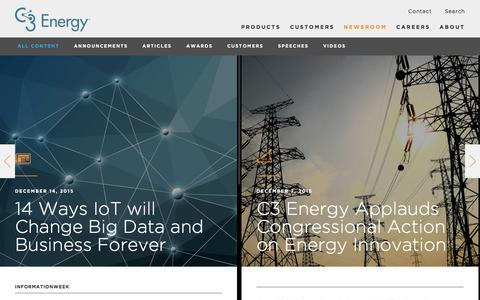 Screenshot of Press Page c3energy.com - Newsroom - C3 Energy - captured Dec. 30, 2015