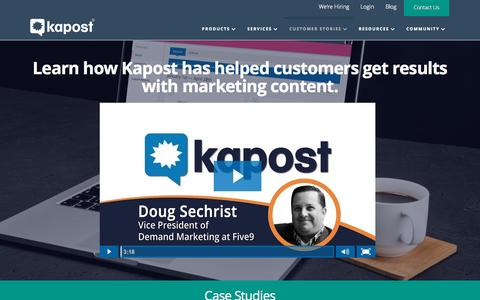 Screenshot of Case Studies Page kapost.com - Kapost Content Marketing Case Studies - captured Oct. 1, 2015