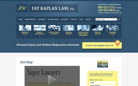 Screenshot of Site Map Page faykaplanlaw.com - Site Map | Fay Kaplan Law, P.A. | Washington D.C. - captured Oct. 5, 2014