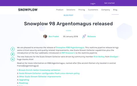 Screenshot of Blog snowplowanalytics.com - Snowplow 98 Argentomagus released - captured Feb. 10, 2020