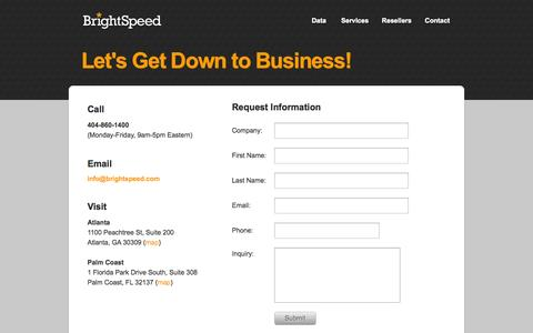 Screenshot of Locations Page brightspeed.com - Contact Us | BrightSpeed - captured Sept. 30, 2014