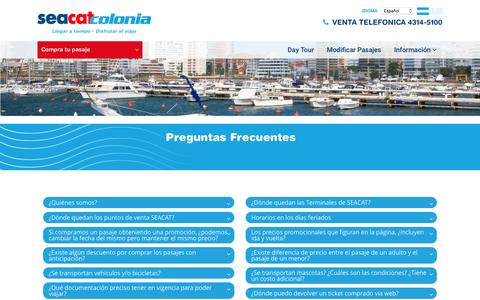 Screenshot of FAQ Page seacatcolonia.com - Seacat Colonia | Pasajes a Buenos Aires Colonia. Tarifas para Colonia, Uruguay. Viajes a Colonia y Buenos Aires - captured Feb. 29, 2016