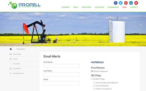 Screenshot of Signup Page propell.com - Email Alerts :: Propell Technologies Group, Inc. (PROP) - captured Nov. 2, 2014