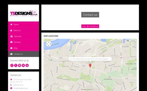 Screenshot of Contact Page tsdesigns.co.uk - Contact TS Designs - DESIGN | WEB | PRINT || LONDON - captured Oct. 7, 2014
