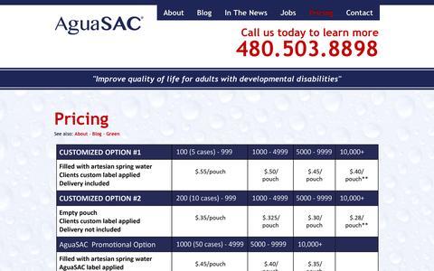 Screenshot of Pricing Page aguasac.com - Pricing | AguaSAC, LLC - captured Oct. 4, 2014