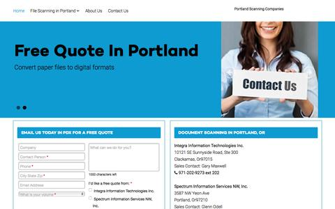 Screenshot of Home Page documentscanning-portland.com - Portland, OR Document Scanning Companies - Document Scanning in Portland - captured Jan. 30, 2016