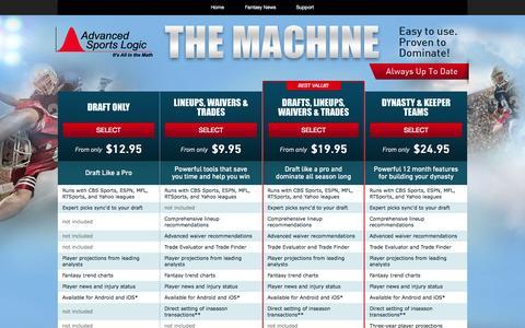 Screenshot of Products Page advancedsportslogic.com - Fantasy Software | Fantasy Football Software | The Machine - captured Sept. 22, 2015