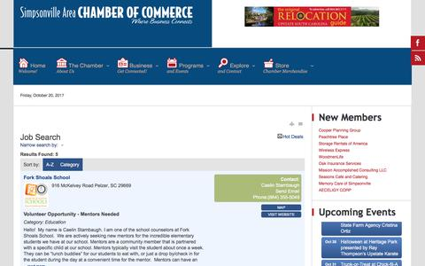 Screenshot of Jobs Page simpsonvillechamber.com - Job Search - Simpsonville Chamber of Commerce - captured Oct. 21, 2017