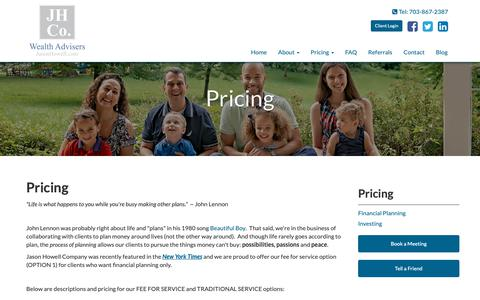 Screenshot of Pricing Page jasonhowell.com - Financial Planning Fees - captured Nov. 12, 2018