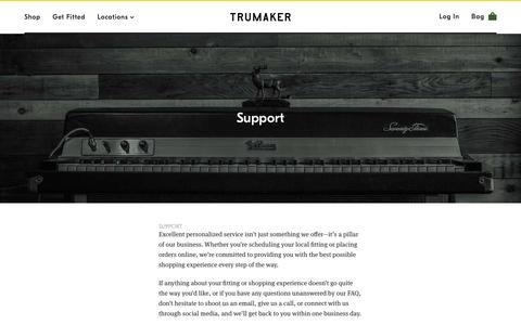 Screenshot of Support Page trumaker.com - Support | Trumaker - captured Sept. 1, 2016