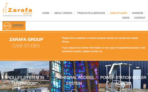 Screenshot of Case Studies Page zarafagroup.com - Zarafa - Recent projects solving problems at height - captured July 6, 2018