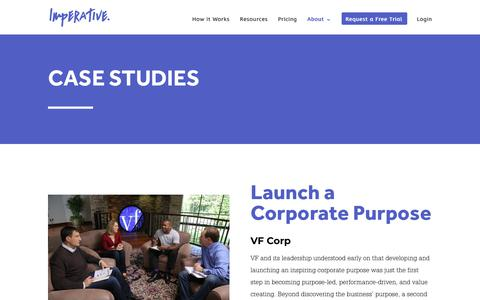 Screenshot of Case Studies Page imperative.com - Case Studies | Imperative - captured Sept. 27, 2018