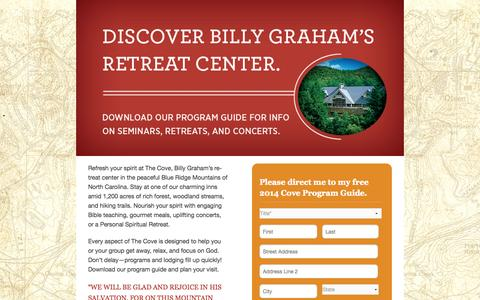 Screenshot of Landing Page billygraham.org - Discover The Cove | Billy Graham Evangelistic Association - captured Oct. 27, 2014