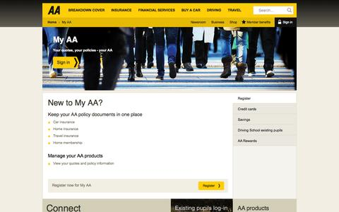 Screenshot of Login Page theaa.com - My AA : Manage your products online - captured Sept. 18, 2014