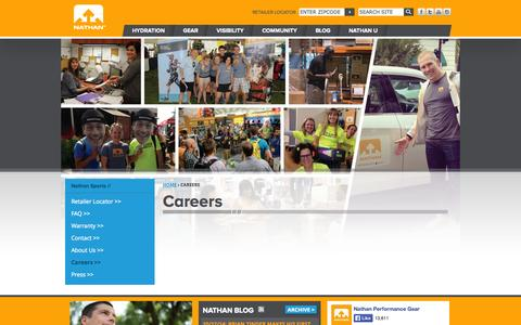 Screenshot of Jobs Page nathansports.com - Careers | Nathan Sports - captured Nov. 1, 2014