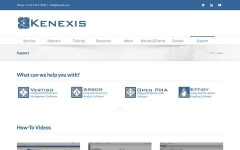 Screenshot of Support Page kenexis.com - Support - Kenexis - captured Oct. 15, 2018