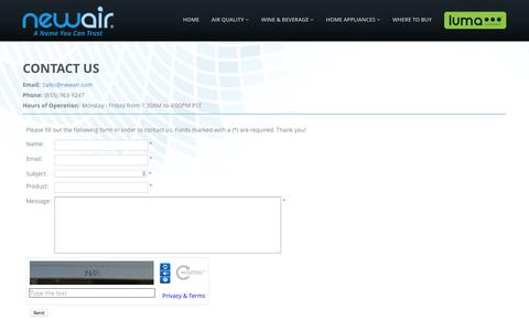 Screenshot of Contact Page newair.com - NewAir | Contact Us - captured Nov. 25, 2015