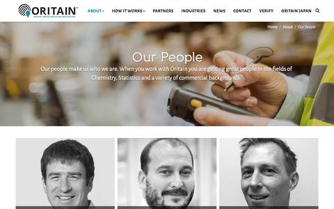Screenshot of Team Page oritain.com - Our People » Oritain - captured Sept. 20, 2018