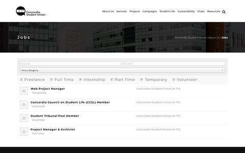 Screenshot of Jobs Page csu.qc.ca - Jobs – Concordia Student Union - captured Nov. 11, 2018