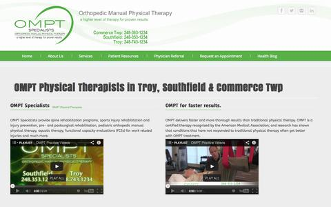 Screenshot of About Page omptspecialists.com - OMPT Physical Therapists | Southfield, Commerce & Troy MI - captured Oct. 7, 2014