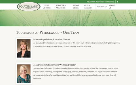 Screenshot of Team Page touchmarkedmonton.com - Touchmark at Wedgewood Edmonton, AB | Our Team - captured Oct. 20, 2018