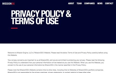 Screenshot of Privacy Page missionog.com - Privacy – MissionOG - captured Sept. 20, 2018