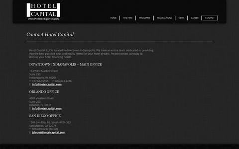Screenshot of Contact Page hotelcapital.com - Hotel Capital :: Debt | Preferred Equity | Equity - captured Sept. 29, 2018